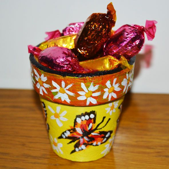 """Yellow Butterflies"" - Painted Upcycled Terracotta Pot, Paradis Terrestre - Luxury British Made Accessories & Homeware"