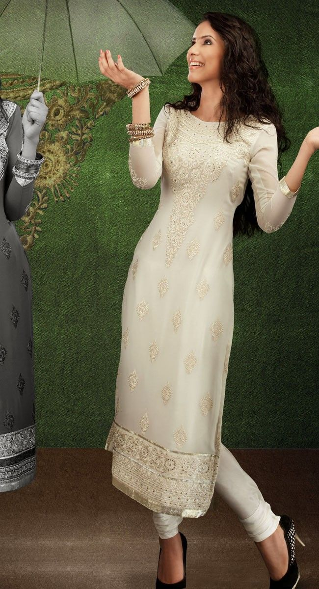 white Kameez Great outfit @ www.onlineahmedabad.com