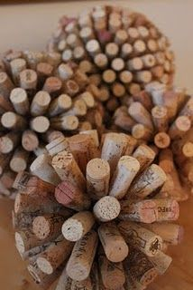 cork balls. Just finished making three of these last night to hang from my dining room ceiling.