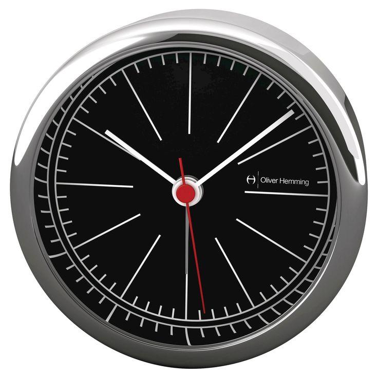 Light and Contemporary Alarm Clock Black/Chrome (Grey) - Oliver Hemming
