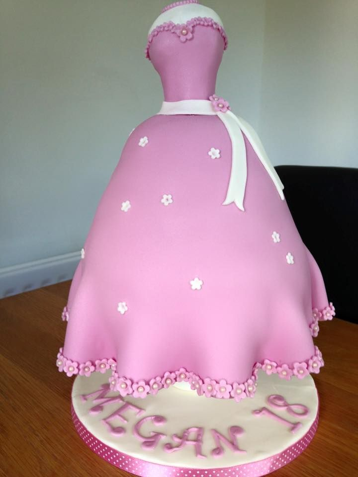 Megan's 18th Birthday cake- mannequin cake using the cake frame as support
