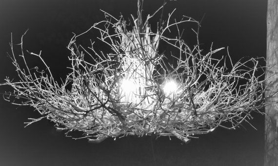 Custom Ordered by KELLIE!!-The Queen -  6 Light - White Chandelier - Rustic Twig Chandelier - Branch Chandelier - OOAK - Enchanted Forest