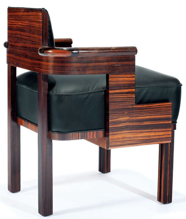 art d co kem weber fauteuil bois et cuir art deco. Black Bedroom Furniture Sets. Home Design Ideas