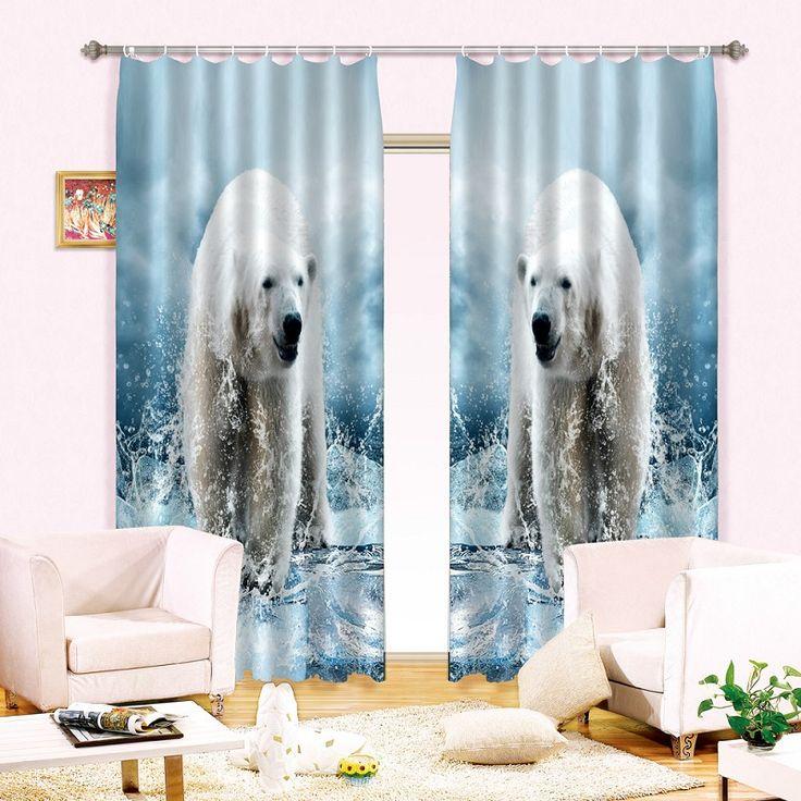 3D занавес белый медведь окна затемнения шторы для спальни, Сидя гостиная шторы rideaux ле салон сделанные на заказ лето