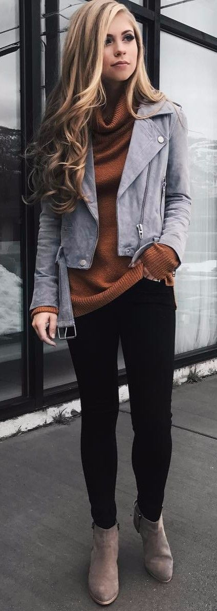 chic street style wearing suede jacket