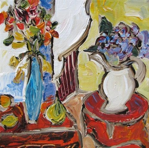 """""""Two Red Tables"""" - Original Fine Art © Kristin Gibson http://www.fineartandfabric.com"""