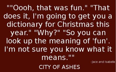 Oh come on jace cut her some slack, it was fun for her cause she didn't land on her face! City of ashes