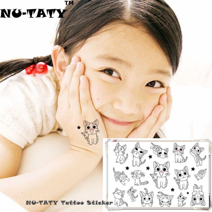 NU-TATY White Kitty Cats Child Temporary Body Art Flash Tattoo Sticker 10*17cm Waterproof Henna Fake Tatto Tattoo Sticker