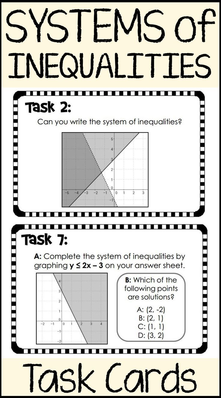 Systems Of Inequalities Task Cards Inequalities Activities
