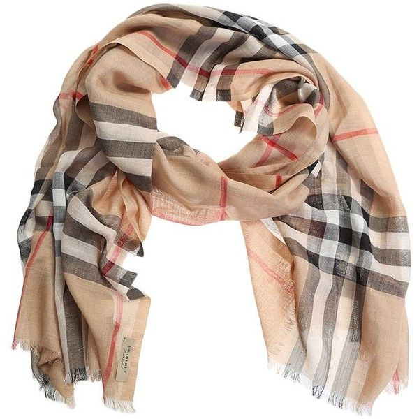 Camel Checked Wool Silk Scarf ($285) ❤ liked on Polyvore featuring accessories, scarves, burberry, brown, woolen shawl, checkered scarves, burberry shawl, silk scarves and pure silk scarves