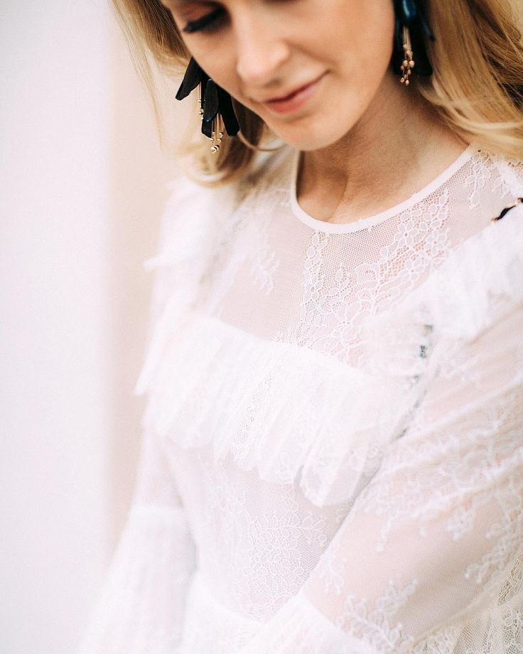 Love this & Other Stories shirt with white lace and frills - Anna Pauliina, Arctic Vanilla blog. Photo by Petra Veikkola.