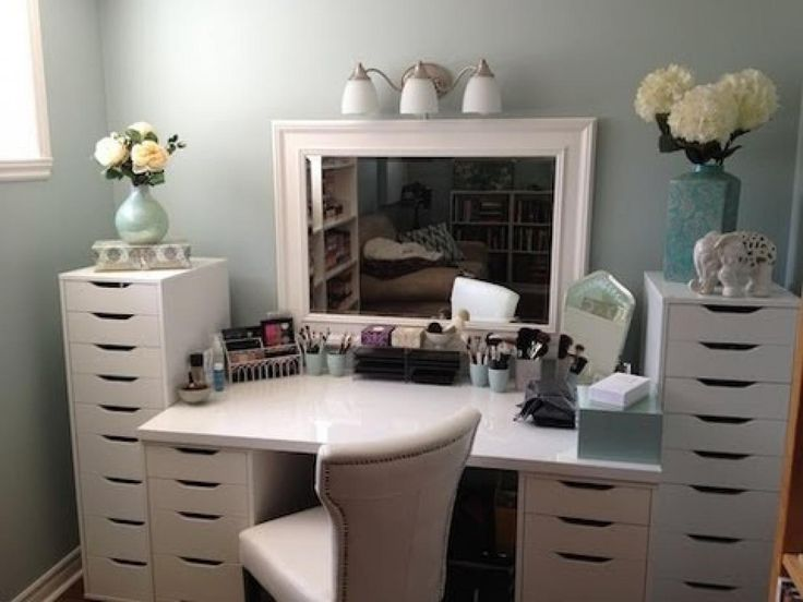 Måske lidt mere opbevaring omkring skrivebordet end... vanity using ikea  storage drawers and - 48 Best Makeup Vanity / Organization Images On Pinterest