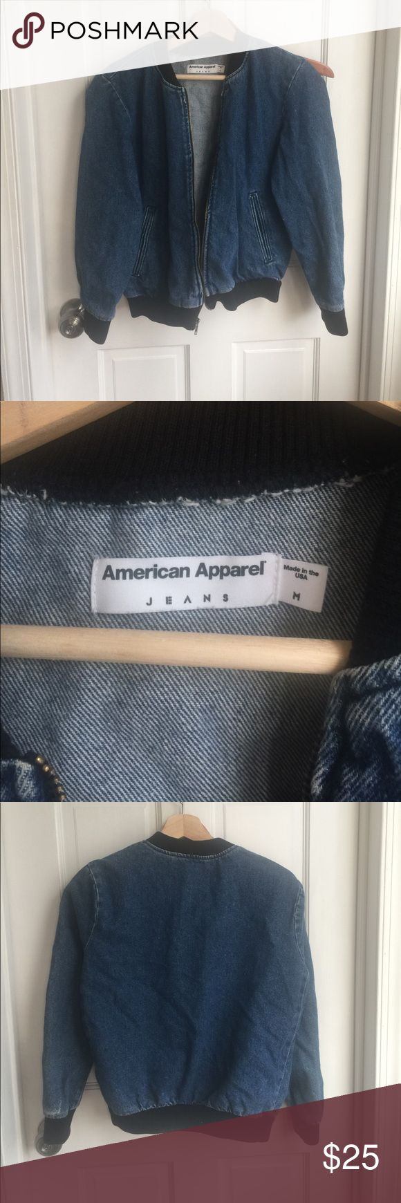 American Apparel Denim Bomber Zip Up 100% Cotton. Size medium by fits like a small. Lightly worn, slightly cropped. Great condition and not worn in! American Apparel Jackets & Coats Jean Jackets