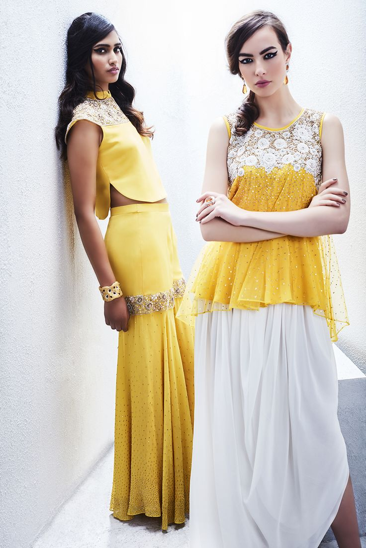 Sue Mue Campaign  Crop top with garara (L) Peasant top with dhoti (R)