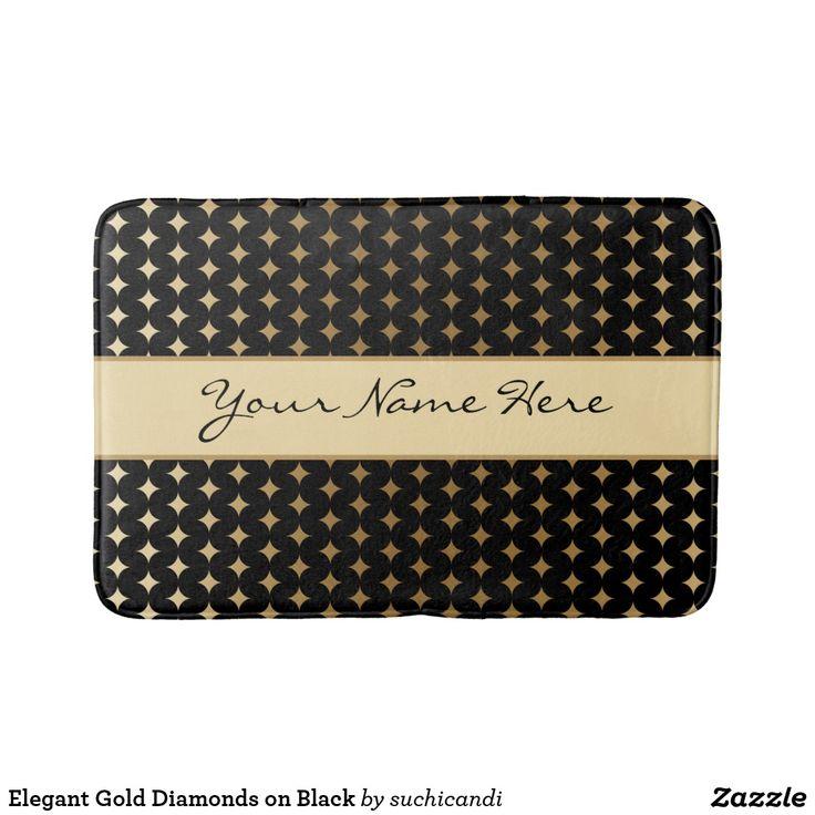 Elegant Gold Diamonds on Black Bath Mat
