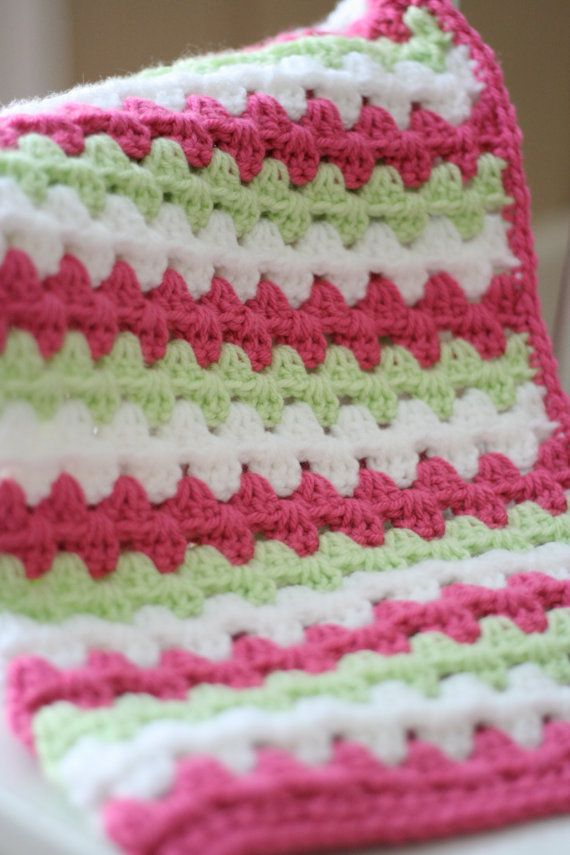Crocheted Baby Blanket Granny Stripe Baby by DaisyCottageDesigns * no pattern*