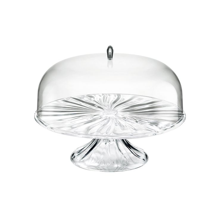 Aqua cookie plate with lid 33 cm clear cake stand with