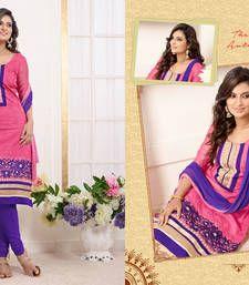Buy Pink Embroidered Work chanderi semi-stitched salwar with dupatta s6005 party-wear-salwar-kameez online