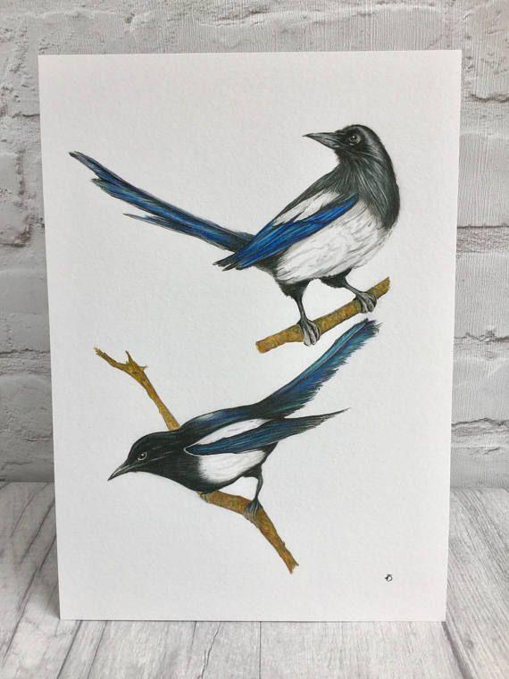 Magpies fine art print by Norfolk artist TeresaSArt