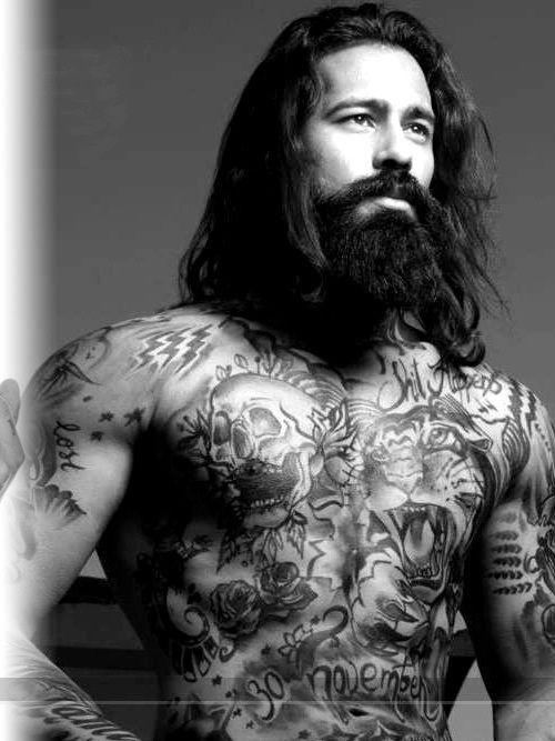 Chest, Arms, Beard And Long Hair