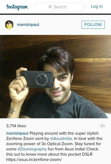 ASUS india sent the new smartfone to manish paul.zenfone zoom.Manish Paul instagram.