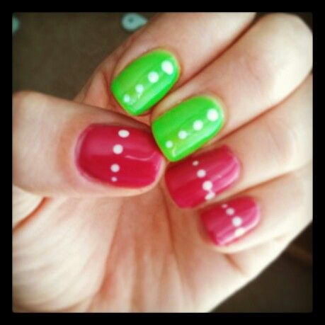 Pink and green gel nails