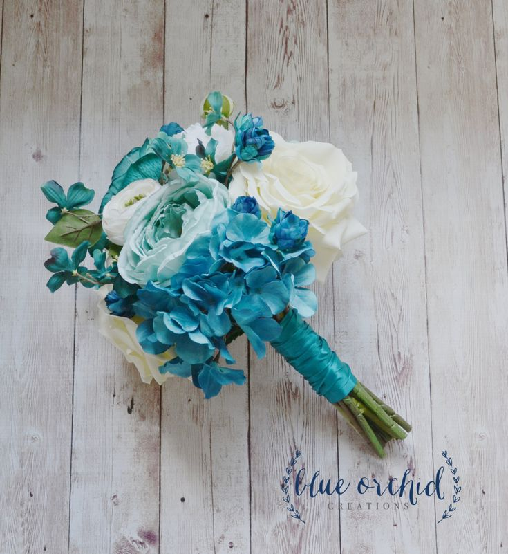 Silk Wedding Bouquet with Blue Turquoise - Ranunculus, Rose, Peony, Bouquet, Blue Bouquet, Teal, Light Turquoise, High Quality Silk Bouquet by blueorchidcreations on Etsy