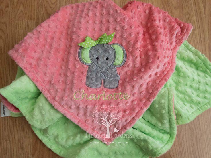 Elephant Personalized Minky Baby Blanket, Personalized Minky Baby Blanket, Personalized Baby Gift, Elephant Appliqued Minky Baby Blanket by LullabyGardens on Etsy