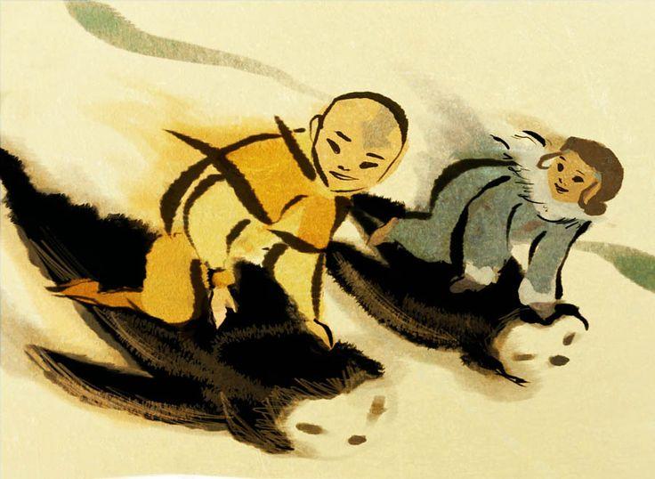 Sketches and Souvenirs (Three generations of penguin sledding! Aang and Katara)