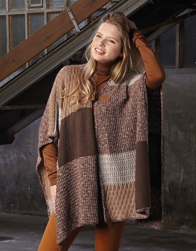 Book Woman Basics 10 Autumn / Winter | 45: Woman Poncho | Beige / Light brown / Brown / Stone grey