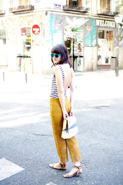 Swimwear: backless mustard lace pants blue sunglasses summer printed pouch pouch striped summer
