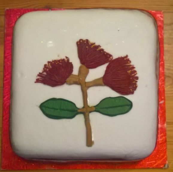 My own Christmas cake I decorated with Pohutakawa for a New Zealand touch.
