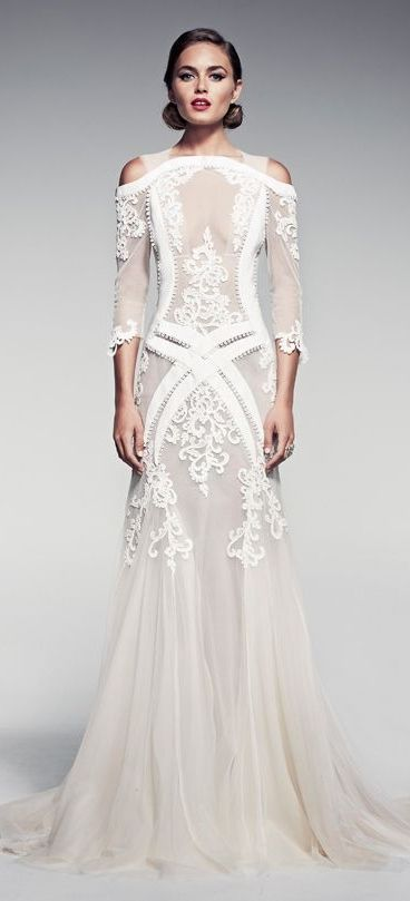 I usually put more modern dresses on this board but there's something about this one that seems to fit the theme.  Pallas Couture Fleur Blanche S/S 2014