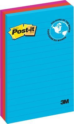 """Shop Staples® for Post-it® Notes, Jaipur Collection, Lined, 4"""" x 6"""", 100 Sheets/Pad, 3/Pack"""
