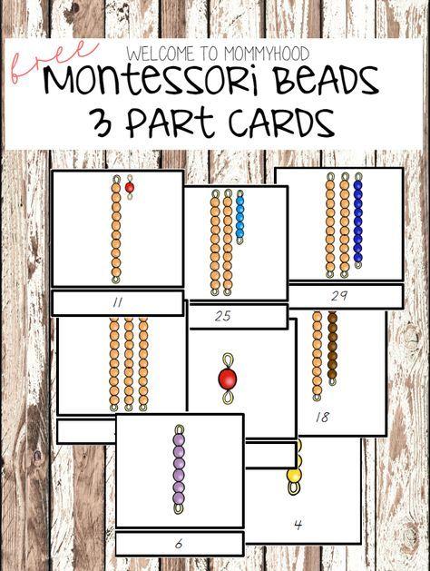 Montessori activities: montessori beads 3 part cards by Welcome to Mommyhood #montessori, #montessoriactivities, #preschool, #preschoolactivities