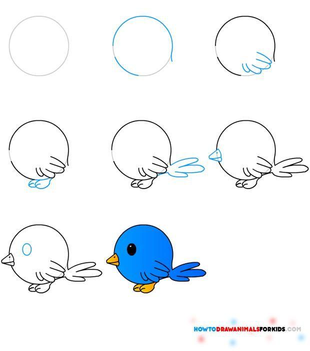 Dibujo para colorear Como dibujar un Pajarito azul