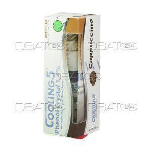 COOLING 5 SPRAY CAPPUCINO 15ML  Komposisi: Phenol crystal 1,4% Pabrik: Novell Pharmaceutical Laboratories