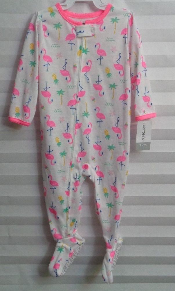 Carter s Flamingo Print One-Piece Footed sleeper Baby Girl s Size 12 Months  (u) 9e61533b0