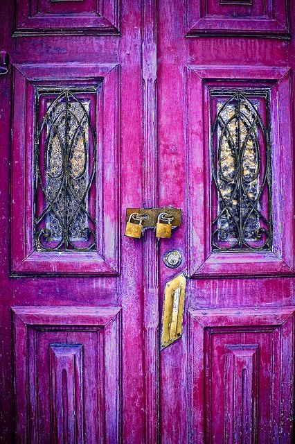 Fantasy #door colors, distressed colors with stained glass, double locks.