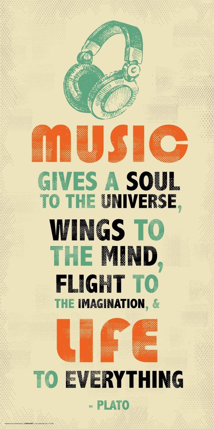 Amazon.com: Plato Music Inspirational Motivational Quote Decorative Poster Print 12x24: Posters & Prints