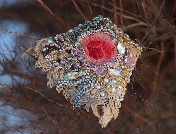 RESERVED-- Glowing rose-- shabby chic bohemian wrist wrap with antique lace and beading