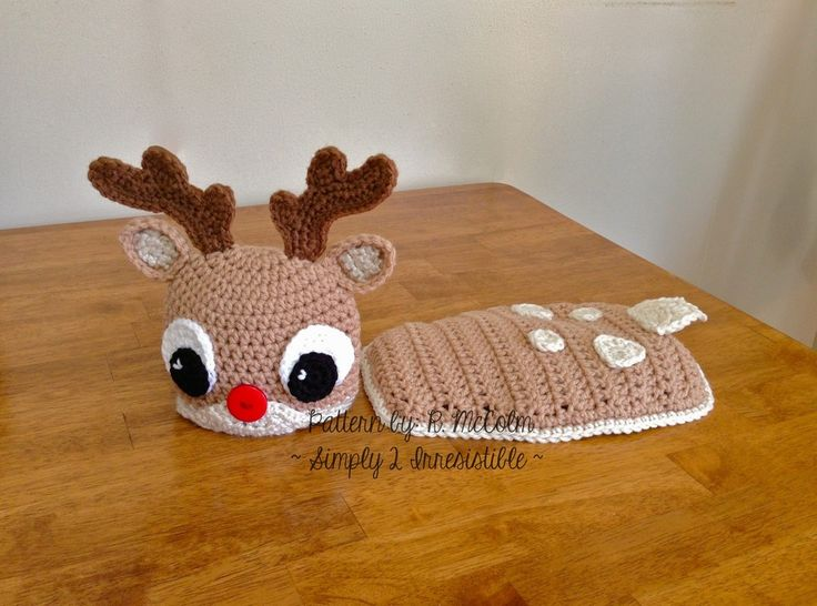Free Crochet Reindeer Hat Pattern | Image of Rudolph Reindeer Hat and Cape/Cover Crochet Pattern Set