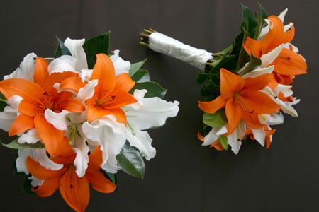 orange tiger lily wedding bouquets | Bride's Bouquet was a simple posy of orange tiger lilies and white ...