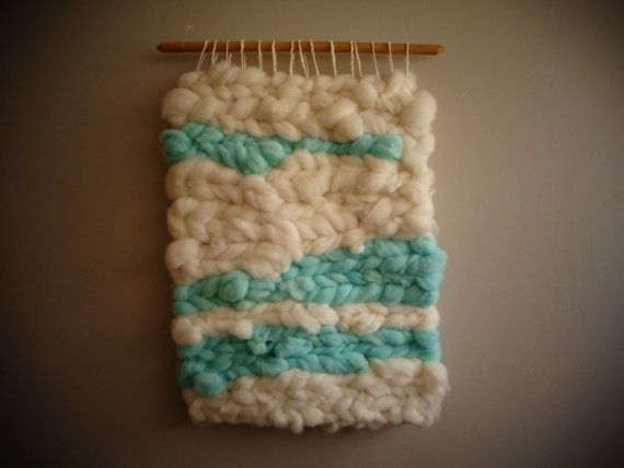 White and Turquoise Wall Hanging by CrisalidaTextile on Etsy