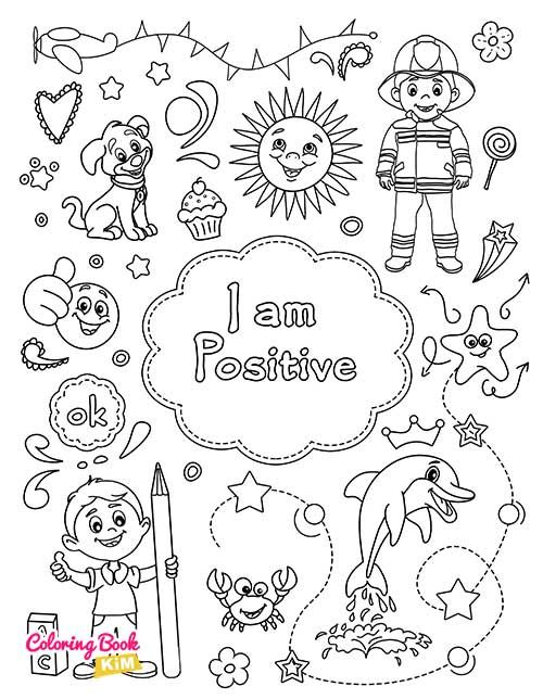 I Am Positive Coloring Page For Boys In 2020 Coloring Books Books For Boys Coloring Pages