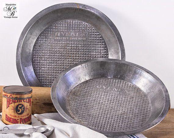 Ovenex Pie Pans, Set of 2, Perfect Bakeware, Vintage Bakeware, Vintage Pie Pan, Industrial Decor, Food Photo Prop, 1950s Kitchen
