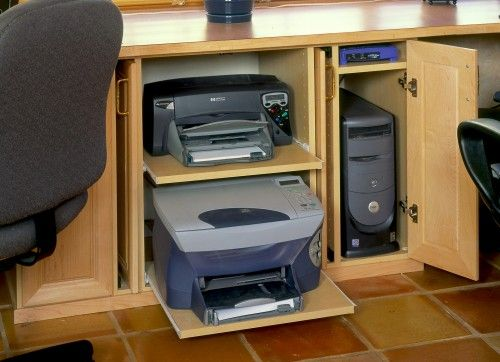 Laptop and printer station in dining room.  Instead of bottom printer, roll out…