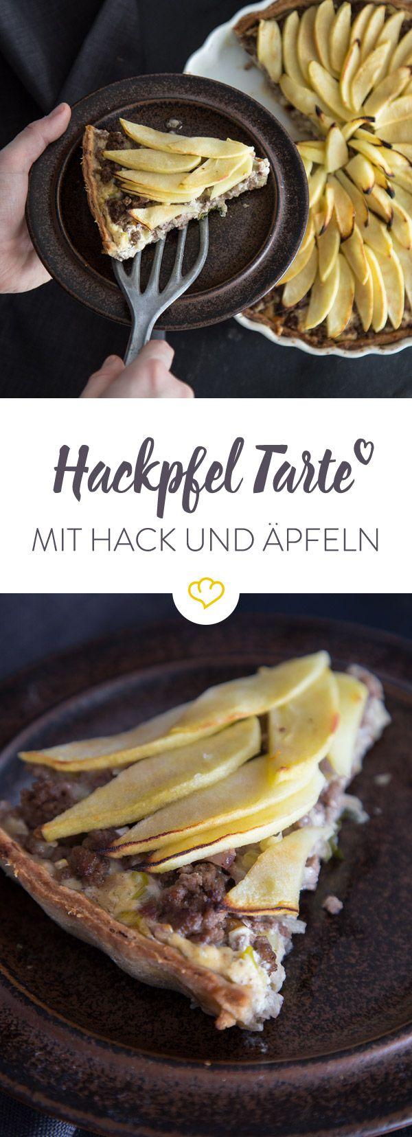 Du hast Lust auf eine Tarte, möchtest aber etwas ausgefallenes backen? Wie wäre es mit einer Hackpfel Tarte aus Hack, Äpfeln, Creme Fraîche und Käse?