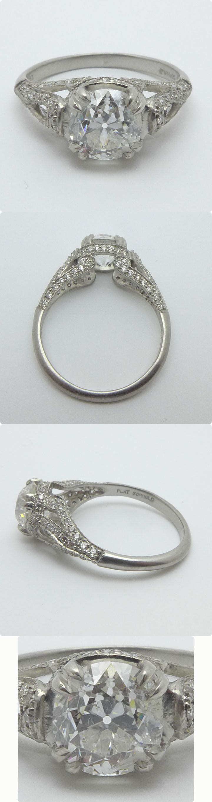 You just don't see engagement rings this gorgeous anymore!!  #Antique Platinum Old European Cut Diamond engagement ring with elegant filigree details in an Art-Deco design!  #Breathtaking !!