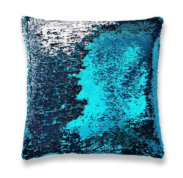 All Pillows : Two Tone Mermaid Sequin Pillow in Aqua/Silver